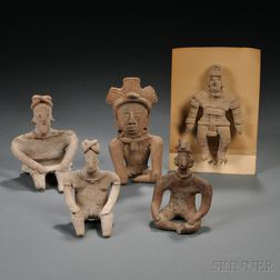 Five West Mexican Pre-Columbian Pottery Figures