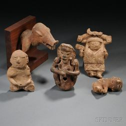 Five Pre-Columbian Pottery Fragments