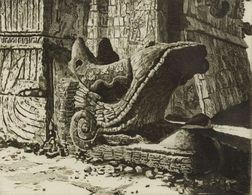 John Taylor Arms (American, 1887-1953)  Lot of Two Gargoyle Images: Plumed Serpent, Chichen Itza