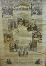 Framed Lithograph Chart of Temperance and Physiology No. 1, The Road to Ruin and How   to Avoid It