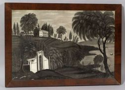 American School, 19th Century    Portrait of Mt. Vernon and Grounds Overlooking the Potomac River.