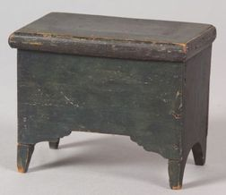 Miniature Green Painted Wooden Six-board Chest