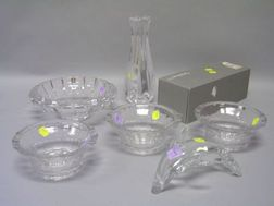 Oreffors Colorless Crystal Glass Bowl and Siljan Vase, a Set of Three Colorless Glas Bowls, and a Colorless Glass Dolphin Figural.
