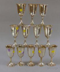 Set of Twelve Preisner Sterling Silver Goblets