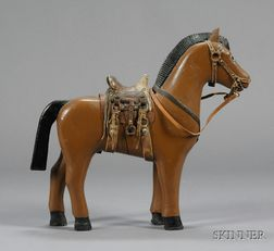 Painted Carved Toy Wooden Horse with Leather Saddle and Harness