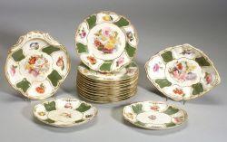 Eighteen Piece Derby Porcelain Botanical Decorated Dessert Service