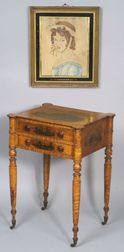 """Federal Academy Painted Tiger Maple Work Table, together with a portrait """"Imogine"""""""