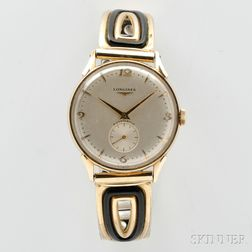 Longines Automatic Watch, Switzerland, silver-tone dial marked Longines, Automatic, with applied Arabic numerals at 3, 6, 9, and 12, an