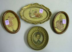 Framed Miniature Oil Portrait of Queen Elizabeth I and Three Small Framed Needlework Scenes.