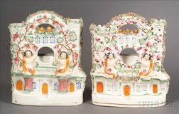 Two Victorian Staffordshire Pottery Watch Holders