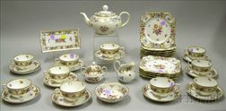 Thirty-seven Piece Assembled Dresden Hand-painted Floral Decorated Porcelain Tea   Service