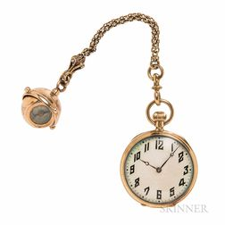 Ed Koehn 18kt Gold Open-face Pendant Watch with Compass Fob