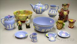 Six Assorted Royal Doulton Ceramic Items and Nine Pieces of Wedgwood Solid Light   Blue Jasper