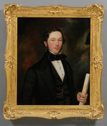 American School, 19th Century      Portrait of a Gentleman Holding a Map.