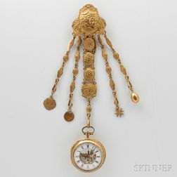 Repousse Pair-cased Verge Watch and Chain