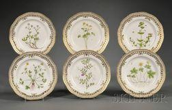 Six Royal Copenhagen Floral Danica Porcelain Bread Plates