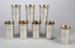 Set of Eight Watson World War I-related Sterling Silver Beakers