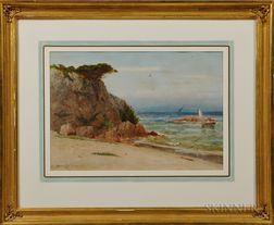 Robert Swain Gifford (American, 1840-1905)    Coastal View with Cliff and Sailboat