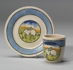 Paul Revere Pottery Mug and Dish