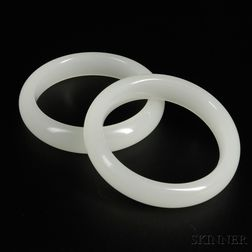 Pair of White Glass Bangles