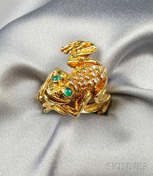 18kt Gold, Diamond, and Green Chalcedony Frog Ring, Kurt Wayne