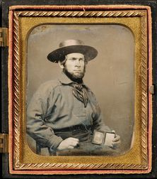 Sixth Plate Daguerreotype of a Sailor Holding a Daguerreotype of His Wife