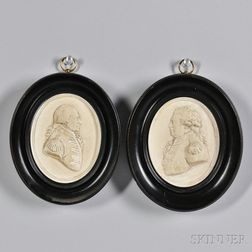 Cast Plaster Portraits of Admirals Howe and Duncan