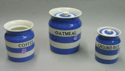 Three Blue and White Striped Ironstone Kitchen Canisters
