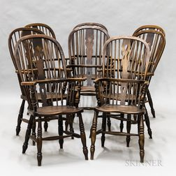 Set of Eight English Elmwood and Yewwood Windsor Armchairs