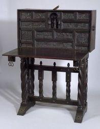 Spanish Renaissance-style Wrought Iron Mounted Oak Vargueno