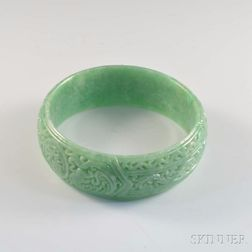 Carved Jadeite Bangle