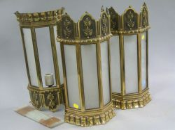 Set of Three Brass and Frosted Glass Wall Sconces and an Architectural Arts & Crafts Leaded Glass Window.