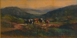 American School, 19th Century      Hillside Landscape with Cows.