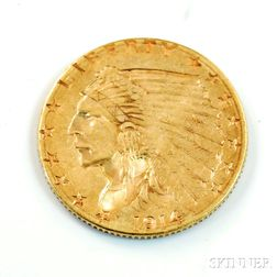 1914-D Indian Head Two and a Half Dollar Gold Coin.         Estimate $200-300