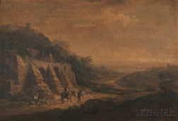 Attributed to Christian Georg Schüz the Younger (German, 1758-1823)      Travelers in a Landscape