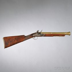 British Flintlock Brass-barreled Blunderbuss