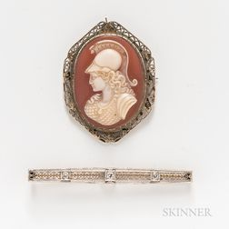 14kt Bicolor Gold and Diamond Bar Brooch and 14kt White Gold and Shell Cameo Brooch