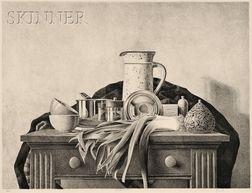 James Aponovich (American, b. 1948)      Still Life with Leeks