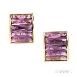 18kt Gold and Amethyst Earclips, H. Stern