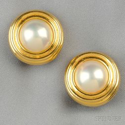 18kt Gold and Mabe Pearl Earclips, Tiffany & Co.