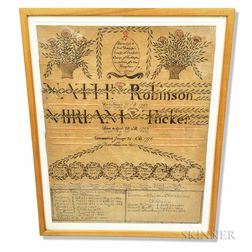 Framed Robinson/Tucker Watercolor Family Record