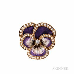 Antique 14kt Gold and Enamel Pansy Pendant