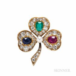 Antique Gem-set Clover Brooch