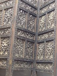 Small Indian Carved and Reticulated Folding Three-Panel Floor Screen.