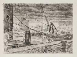 Niels Yde Andersen (Danish/American, 1888-1952)      Lot of Four Harbor Scenes: Sailing with the Setting Sun