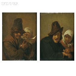 School of David Teniers II (Flemish, 1610-1690)      Two Figure Paintings Representing the Senses:  Personification of Touch