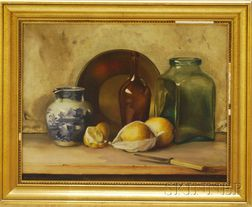 American School, 19th/20th Century      Still Life with Blue and White Porcelain and Bottles.