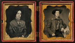 Two Sixth Plate Daguerreotype Portraits of a Young Man in Uniform and a Young Woman