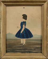 American School, 19th Century      Portrait of a Little Girl Wearing a Blue Dress in a Landscape.