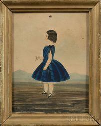 American School, 19th Century      Portrait of a Little Girl Wearing a Blue Dress in a Landscape.